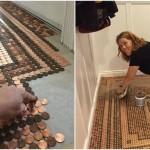 Вечный пол за три недели: хозяйка выложила мозаичное покрытие из 7,5 тыс. монеток